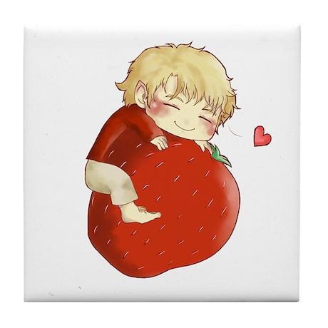 Love for strawberries Tile Coaster