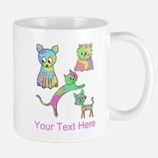Colorful Cats, Custom Text. Mug