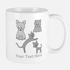Gray Cats, Custom Text. Mug