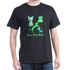 Green Cats, Custom Text. T-Shirt