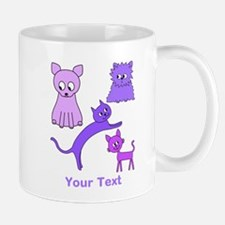 Purple Cats, Custom Text. Mug