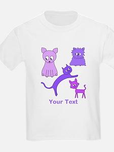 Purple Cats, Custom Text. T-Shirt