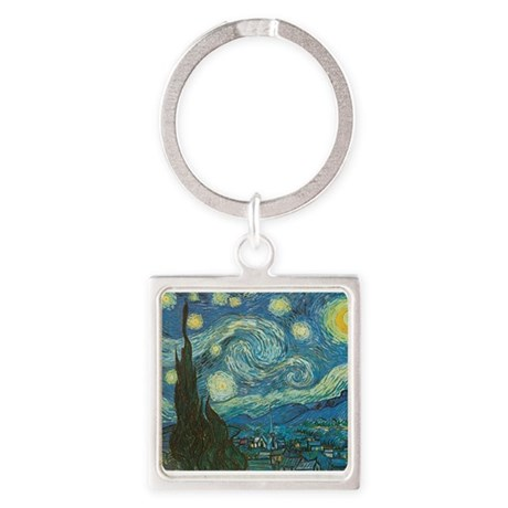 Starry Night van Gogh Square Keychain
