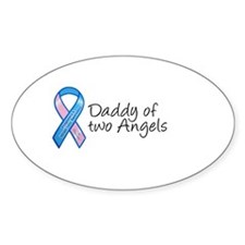 Daddy of Two Angels Oval Decal