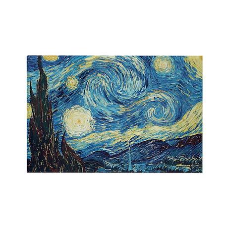 Van Gogh Starry Night Impressionist Rectangle Magn
