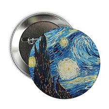 """Van Gogh Starry Night Impressionist 2.25"""" Button"""
