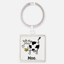 Cartoon Cow Moo Square Keychain