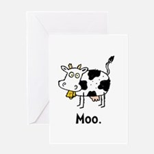 Cartoon Cow Moo Greeting Card