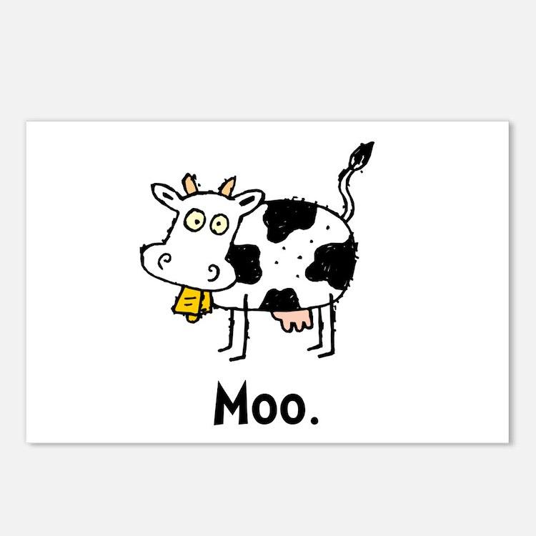 Cartoon Cow Moo Postcards (Package of 8)
