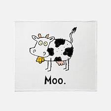 Cartoon Cow Moo Throw Blanket