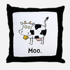 Cartoon Cow Moo Throw Pillow