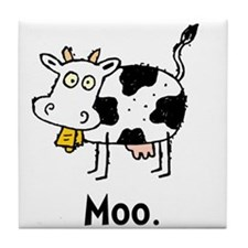 Cartoon Cow Moo Tile Coaster