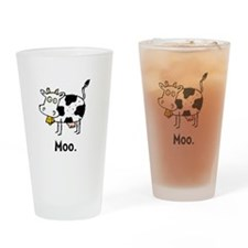 Cartoon Cow Moo Drinking Glass