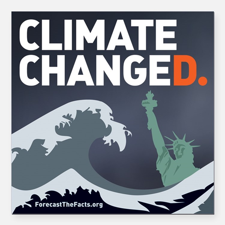 """Climate ChangeD Square Car Magnet 3"""" x 3"""""""