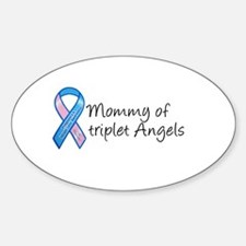 Mommy of Triplet Angels Oval Decal