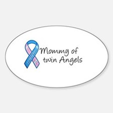 Mommy of Twin Angels Oval Stickers