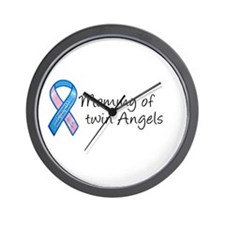 Mommy of Twin Angels Wall Clock