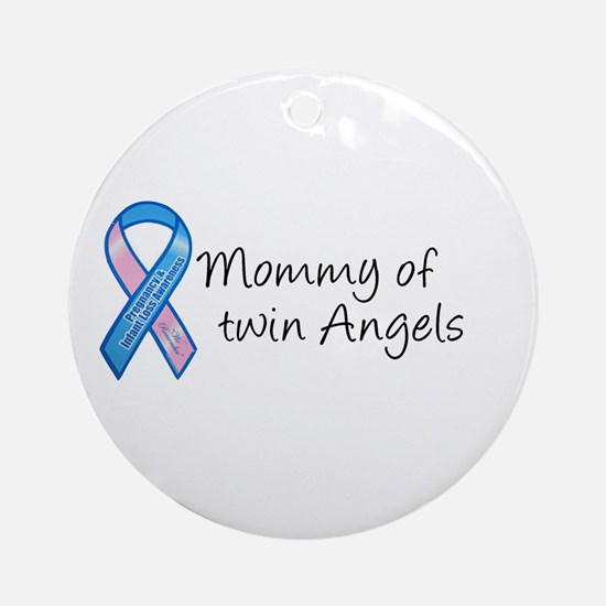 Mommy of Twin Angels Ornament (Round)