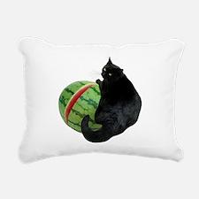 Cat with Watermelon Rectangular Canvas Pillow