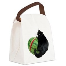 Cat with Watermelon Canvas Lunch Bag