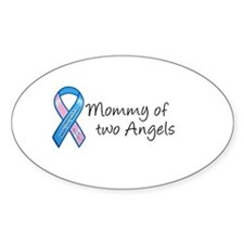 Mommy of Two Angels Oval Decal