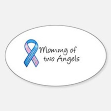Mommy of Two Angels Oval Stickers