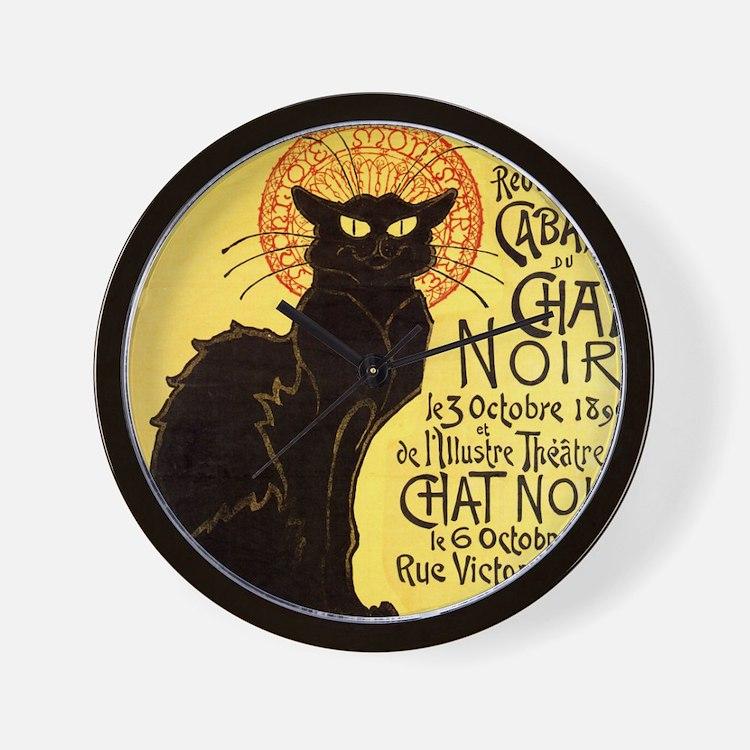 Chat Noir Cat Wall Clock