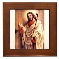 Jesus at Door Framed Tile
