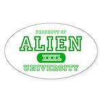 Alien University Oval Sticker