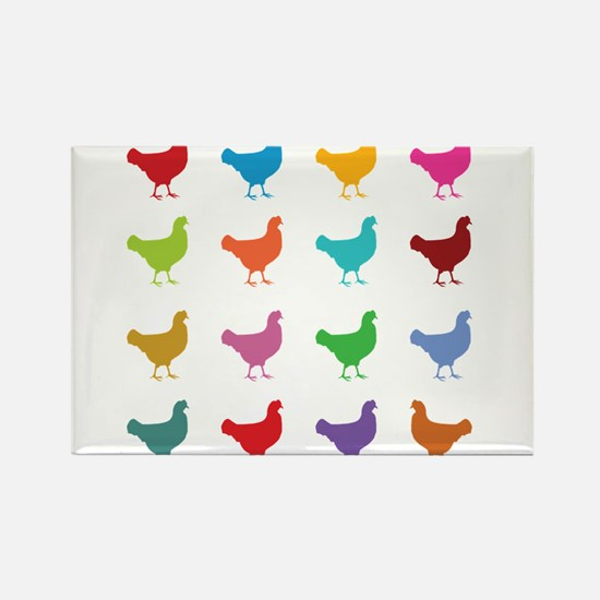Colorful Chickens s Magnets