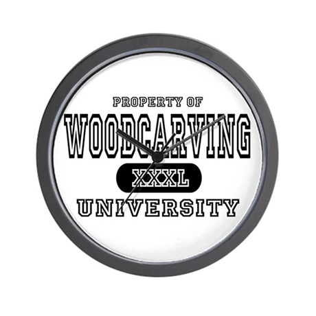 Woodcarving University Wall Clock