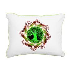 Celtic Tree Illuminated (green) Canvas Pillow