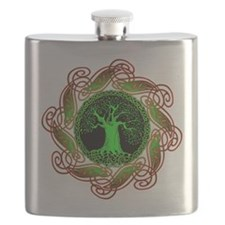 Celtic Tree Illuminated (green version) Flask