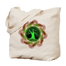 Celtic Tree Illuminated (green) Canvas Tote