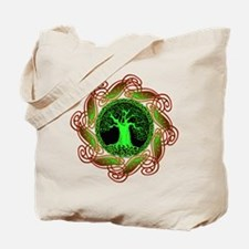 Celtic Tree Illuminated (green) Canvas Tote