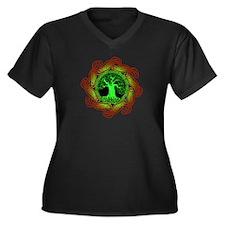 Celtic Tree (2Gr) Women's Plus Size V-Neck dark