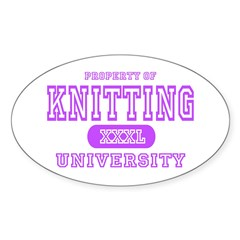 Knitting University Oval Decal