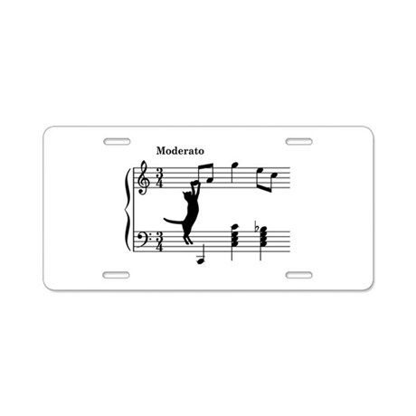 Cat Jumping to Note Aluminum License Plate
