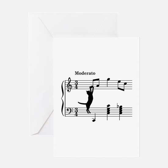 Cat Jumping to Note Greeting Card
