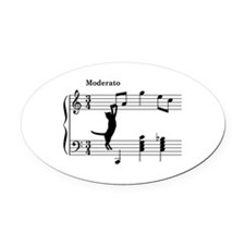 Cat Jumping to Note Oval Car Magnet
