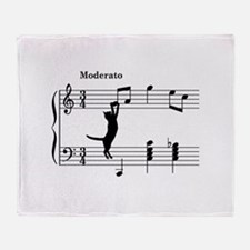 Cat Jumping to Note Throw Blanket