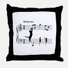 Cat Jumping to Note Throw Pillow