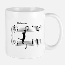 Cat Jumping to Note Small Mugs