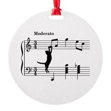 Cat Jumping to Note Ornament