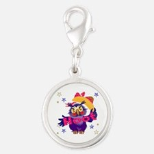 Hoot Owl Silver Round Charm