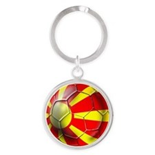 Macedonia Football Round Keychain