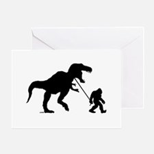 Gone Squatchin with T-rex Greeting Card