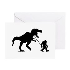 Gone Squatchin with T-rex Greeting Cards (Pk of 10