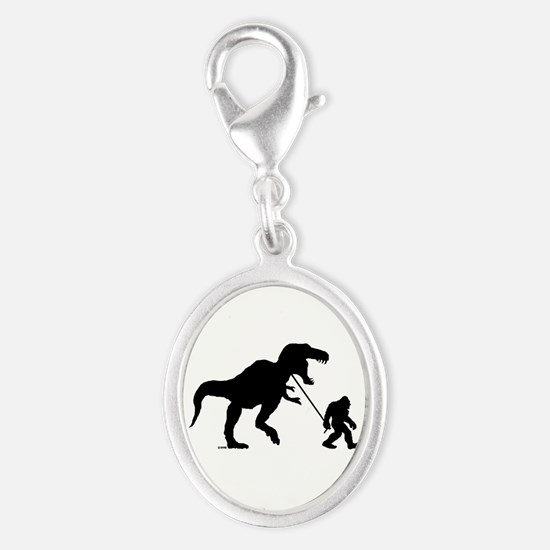 Gone Squatchin with T-rex Silver Oval Charm