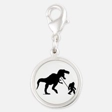 Gone Squatchin with T-rex Silver Round Charm